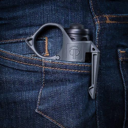 Pocket Clip holding SwitchBack flush against a denim pocket