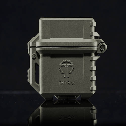Front of Olive Drab PyroVault Lighter Armor