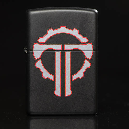 Close-up of Thyrm Zippo, featuring a silver and red logo on a black case