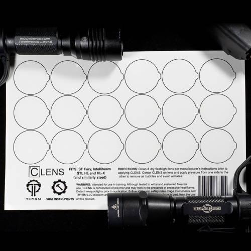 CLENS-18 Large Lens Cover Sheet alongside flashlights