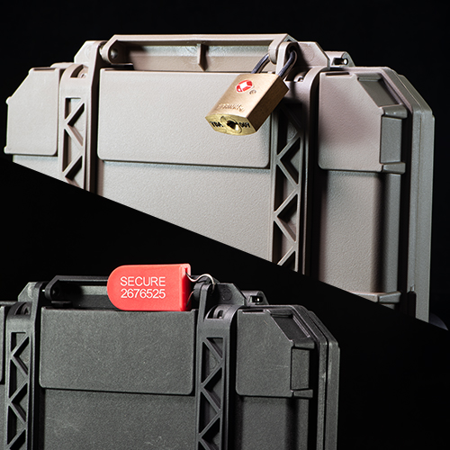 Two TSA-approved locks mounted on the DarkVault Critical Gear Cases (both Blocking and Comms versions)
