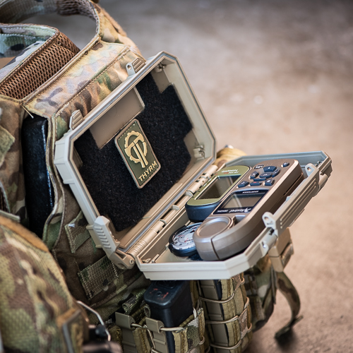 DarkVault Critical Gear Storage serving as a navigation platform when mounted to a chest rig