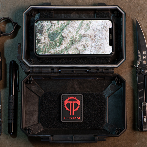 A cell phone with navigation app and patches can be placed in a DarkVault Critical Gear Case