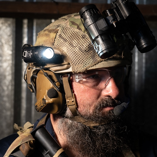 The VariArc Helmet Mount can be positioned to a forward index