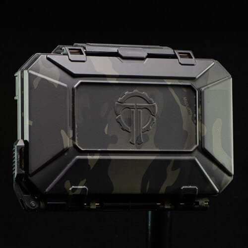 Multicam Black DarkVault is hydrodipped on a Black DarkVault Comms case