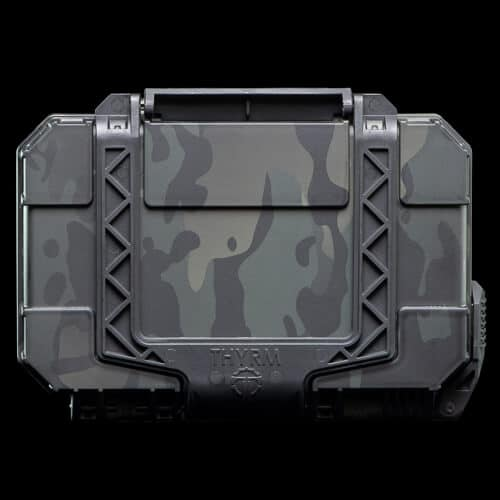 Multicam Black is hydrodipped on a DarkVault Comms in Black