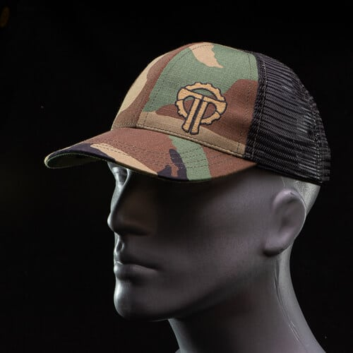Woodland Camo Hat on model curly
